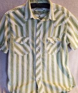 Arizona Jean Co Green Cowboy Shirt Vintage Fit